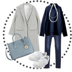 #コート #チェスターコート #トップス #ニット #パンツのコーディネート詳細[No.3706742] Winter Chic, Fall Winter, Color Shapes, Office Wear, Capsule Wardrobe, Your Style, Trunks, Navy Blue, Style Inspiration