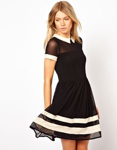 Skater Dress In Mesh With Contrast Detail And Short Sleeves