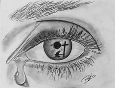 Drawing People In the Eye of a Sinner by Rob King Drawing All Drawing jesus tear conceptual drawing eye cross Jesus Drawings, Dark Art Drawings, Unique Drawings, Pencil Art Drawings, Art Drawings Sketches, Cross Drawing, King Drawing, Eyes Drawing Tumblr, Drawing Eyes