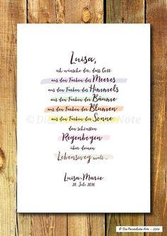 """Eine wunderschöne Geschenkidee zur Geburt, zur Taufe, zur Kommunion, zur Konfirmation oder einfach nur so: Der Segenswunsch """"Regenbogen"""" - schlicht, poetisch und liebevoll. Der Druck wird ganz..."""