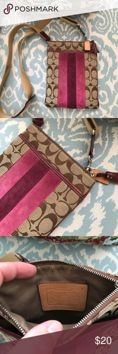 Coach crossbody w/ velvet stripe A GREAT cross body Coach purse. It had some use to it, so willing to accept bids!  It's perfect to throw your phone in, or simply on the go kind of bag. Coach Bags Crossbody Bags