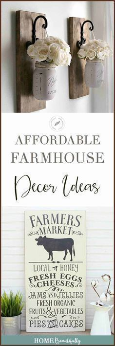 These affordable DIY farmhouse ideas are perfect for decoration on a budget for your home. Add a rustic, cozy charm with a vintage, even boho feel to your master and guest bedroom, living room, or walls. Easy, fun, and inexpensive! #farmhouse #decorating Similar ideas: farmhouse decor diy   farmhouse decor on a budget   farmhouse decor living room   farmhouse decor bedroom   rustic farmhouse decor ideas   fixer upper decor ideas #homedecoronabudgetrustic #easyhomedecordiy #diyhomedecorrustic