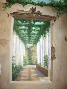 Tuscan Bathroom (window in front of tub) mural idea as seen on… Art Decor, Decoration, Home Decor, Bathroom Mural, Fresco, Window Mural, Tuscan Bathroom, Murals Street Art, Pretty Bedroom