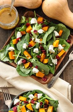 ... butternut squash, dried cranberries, pepitas, and goat cheese is the