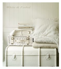 Vintage chest from White & Faded, perfect with the linen cushions, Vintage quilt and basket
