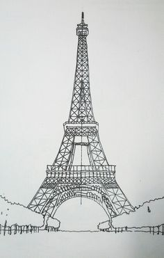 Archidooble Eiffel Tower Drawing, Eiffel Tower Painting, Eiffel Tower Art, Pencil Art Drawings, Art Drawings Sketches, Paris Wallpaper, Paris Painting, Perspective Art, Paris Art