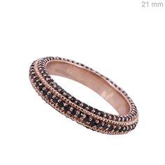 Solid 14k Rose Gold Pave 1.11ct Black Diamond Ring Band Jewelry Anniversary Gift #raj_jewels #Band