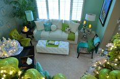 Turquoise & Lime Green Living room