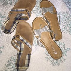 Thong sandal bundle Size 9 One pair of Sperry's Topsiders blue plaid and leather. One pair of silver glitter flats. Previously worn in good condition. Priced accordingly Sperry Top-Sider Shoes Sandals