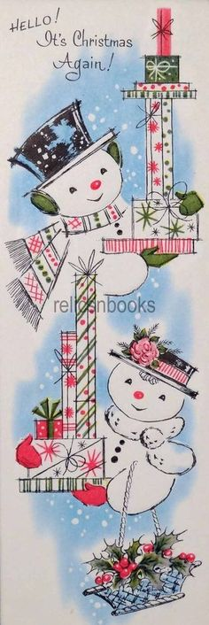 #1500 60s Unused Snowman Couple w/ Gifts-Vintage Christmas Card-Greeting