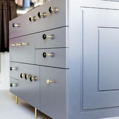 Blue Closet Island with Black and Gold Knobs