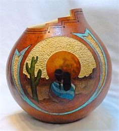 Navajo Sunset Gourd by Gloria Crane