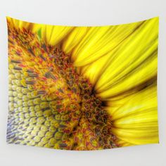 Sunrise Wall Tapestry Sunflower Wall Art Yellow Large by MGMart