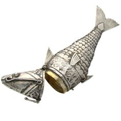 Victorian Sterling-Silver Flexible Fish Snuff Holder