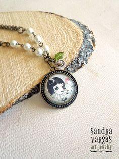 Pierrette Bronze Pendant Choker Necklace  OOAK by Sandra Vargas, $38.00 #artjewelry #pierrotnecklace #choker #pierrot