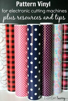 Pattern Vinyl for the Silhouette Cricut and More - Where to find the best printed craft vinyl sheets and supplies. Plus tips and tricks on how to use vinyl with electronic cutting machines. Fun prints like polka dots, stripes, florals, camos, anchors, plaids and more. We made a few fun projects with pattern vinyl and included some resources to help you find pattern vinyl and other vinyl graphics supplies, plus some tips and tricks on how to use it.