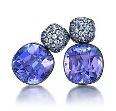 FD Gallery | A Pair of Tanzanite and White Gold Ear Pendants, by Hemmerle