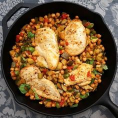 Mediterranean Chicken Skillet with Zucchini, Garbanzo Beans, Olives, and Tomatoes