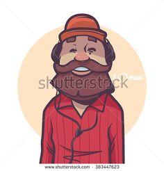 happy man with beard listening music, headphones, cap, hipster, cartoon character, vector illustration - stock vector