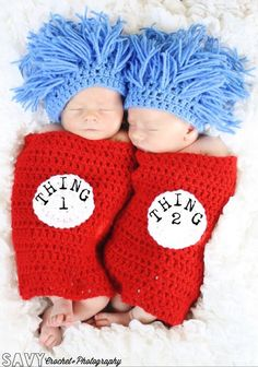 Thing 1 & Thing 2 Twins Beanie and Wrap Set Dr Seuss Cat in the Hat Photography Prop by CrochetSavy, $49.99