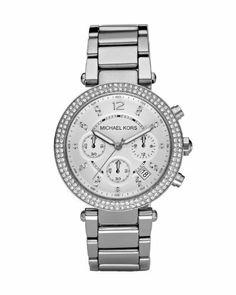 Michael Kors Original Women s Chronograph Parker Silver Bracelet Watch 2d15406bec