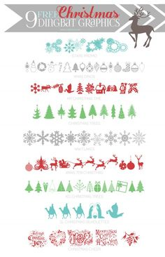9 cute FREE Christmas Dingbat Graphics via @LollyJaneBlog