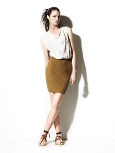 like the color of this skirt, and the baggy shirt combo - fall anyone?