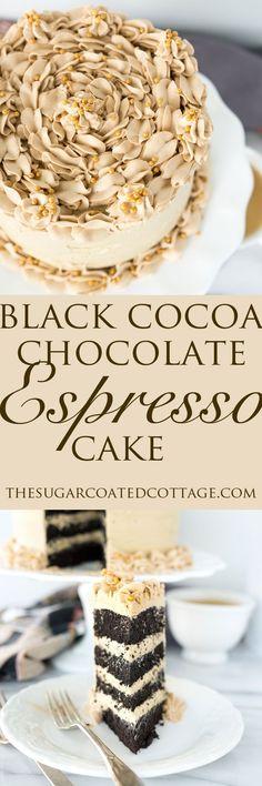 Black Cocoa Chocolate Espresso Cake. My new favorite cake recipe! Deep, dark, delicate crumbed chocolate cake enrobed in a blanket of rich, creamy espresso cream cheese frosting. | thesugarcoatedcot...
