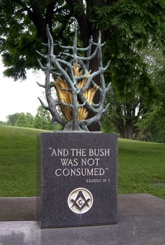 """Marker- Masonic Stone """"and the Bush was not Consumed"""" at the Forest Lawn Cemetery in Buffalo, NY."""