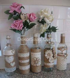 İplerle cam şişe süsleme modeli-Dekorsaati  |   DEKOR SAATİ