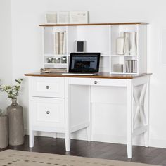 Furniture. White Wooden Study Yable Using Brown Wooden Top And Drawers Integrated With Book Shelves As Well As Executive Desk Also Modular Desk. White Desk With Drawers And Shelves For House And Office Equipment