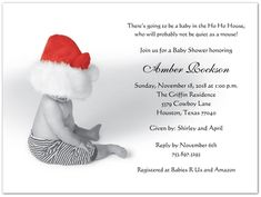 Little Claus Baby Shower Invitations: Little Claus features an adorable baby wearing a red Santa clause hat and striped pants - a very cute and festiv Black Envelopes, Card Envelopes, Baby Shower Photos, Baby Boy Shower, Invitation Set, Baby Shower Invitations, Baby Planning, 3rd Baby, Announcement Cards