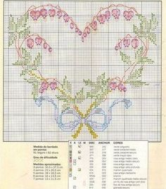 pretty heart and bleeding heart flowers crossstitch Needlepoint Patterns, Counted Cross Stitch Patterns, Cross Stitch Designs, Cross Stitch Embroidery, Embroidery Patterns, Just Cross Stitch, Cross Stitch Heart, Cross Stitch Flowers, Wedding Cross Stitch