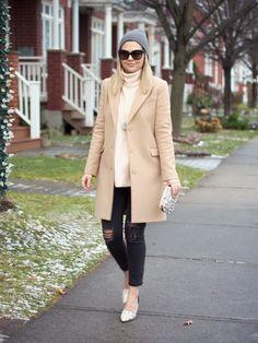 Black denim camel coat