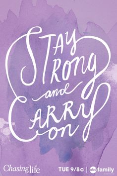 Even when life throws obstacles in your way, you must STAY STRONG & CARRY ON! April Carver on ABC Family's Chasing Life just got diagnosed with cancer but she's not giving up. April's ready to fight for her life.Don't miss the Chasing Life summer finale Tuesday August 12 at 9/8c only on ABC Family