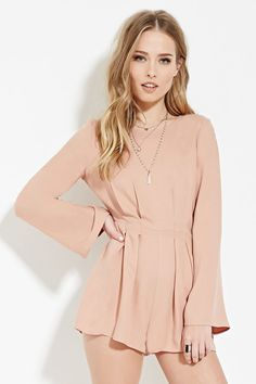 Tie-Back Pleated Romper | Forever 21 - 2000183133
