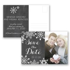 Chalkboard Snowflake - Photo Save the Date Postcard - Economical at Invitations By David's Bridal