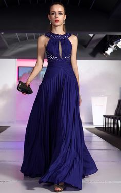 Stunning royal blue evening dress...possibly with tulle scarf?  Something to cover shoulders if need be.