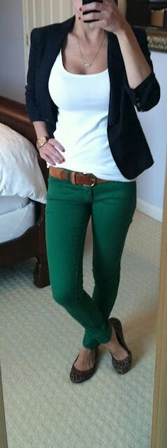 Love the whole outfit especially the green jeans -- different shoes