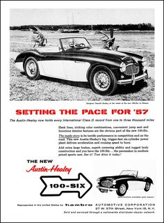 """1957 Austin Healey Ad """"Setting the pace for 1957"""""""