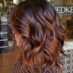 Dark Hair Balayage with Auburn