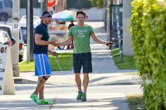Stephen Moyer and his personal trainer get their sweat on outside a local L.A. gym,