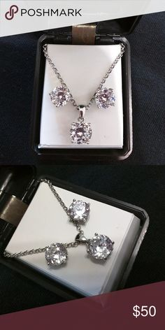 Sterling silver Matching earing and necklace cz.  Only worn once.  From JC Penney Jewelry Earrings