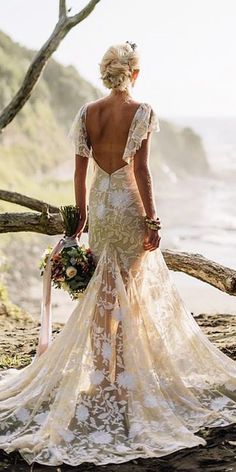 Sparkly Bohemian Rue De Seine Wedding Dresses ❤️ rue de seine wedding dresses boho lace floral embellishment with cap sleeves ❤️ See more: http://www.weddingforward.com/rue-de-seine-wedding-dresses/ #weddingforward #weddingdress #bride