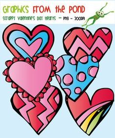 Scrappy Valentine's Day Hearts - Clipart Graphics for Teaching Resources | by Graphics From the Pond | $Free #Valentines Day #Clip Art #Valentine #February #hearts #love