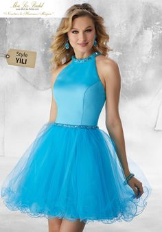 Satin and Tulle Party Dress with Beaded Trim Satin and Tulle Damas Dress with Beaded Neckline and Waistline Trim. An Open Keyhole Back Completes the Look 9484 Dama Dresses, Quinceanera Dresses, Homecoming Dresses, Blue Dresses, Short Dresses, Satin Skirt, Dress Skirt, Bat Mitzvah Dresses, Mother Daughter Fashion