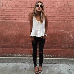 lace top + black jeans