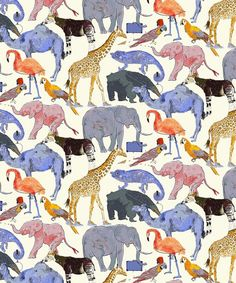 Liberty of London Tana Lawn: Queue for the Zoo Blue/Orange (E) Liberty of London Spring Summer 2014 Collection. About the pattern, Queue for the Zoo: Children's author and il Liberty Art Fabrics, Liberty Of London Fabric, Liberty Print, The Zoo, Fabric Patterns, Print Patterns, Fabric Design, Pattern Design, Textile Design