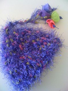 Fluffy Purple Beanie with Pony Tail Detail with Felt Bell Flowers