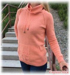 После вязания свитера-кенгуру внуку http://www.stranamam.ru/ от детей поступили заказы на такие же свитера. Первой решила связать невестке - у нее размерчик небольшой - 44 -46.